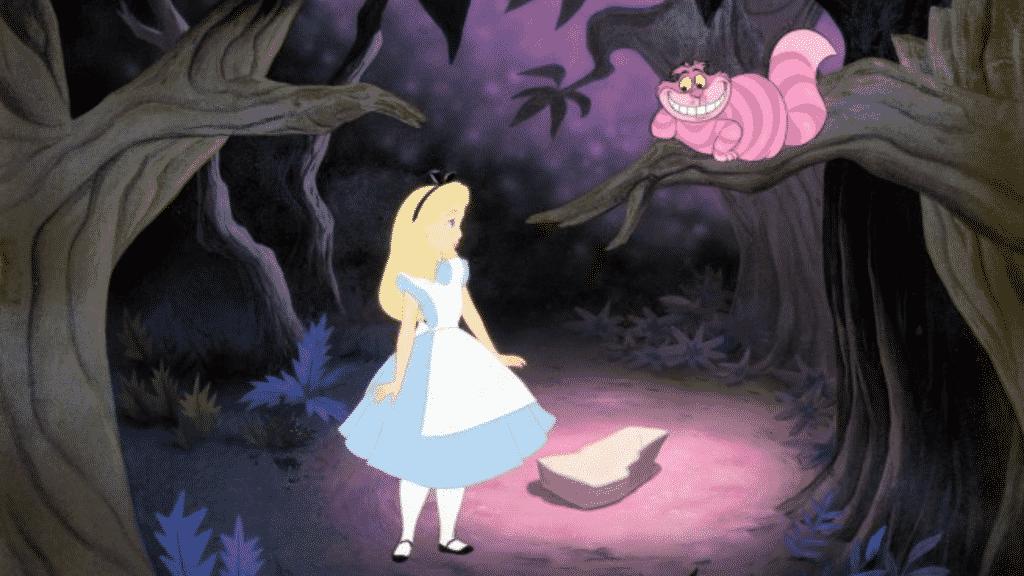"""Cena do filme """"Alice no país das maravilhas"""" em que a Alice fala com o gato"""