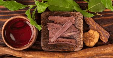 Chá e pedaços de raiz e folhas utilizadas na preparação da Ayahuasca