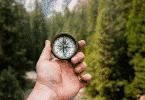Uma mão segurando uma bússola em meio a um horizonte repleto de grandes pinheiros.