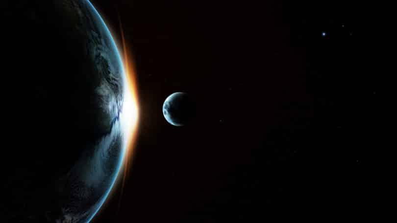 Dois planetas em processo de colisão.