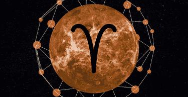 Imagem do planeta mercúrio em um céu estrelado. Ao centro está desenhado o signo de áries.