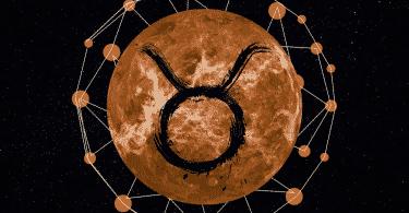 Imagem com uma foto do planeta mercúrio e o símbolo do signo de touro ao meio.